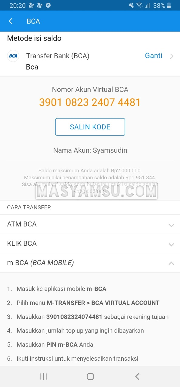 Cara Top Up Dana Via M Banking BCA